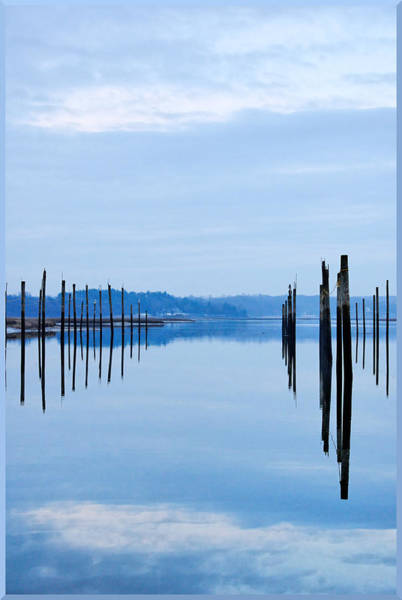 Pilings At Sea With Floating Docks Art Print by Tom Reese, www.wowography.com