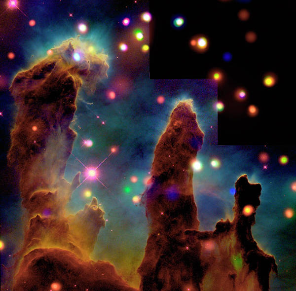 Eagle Ray Photograph - Pillars Of Creation by Nasa/esa/cxc/linksy,u.colorado/science Photo Library