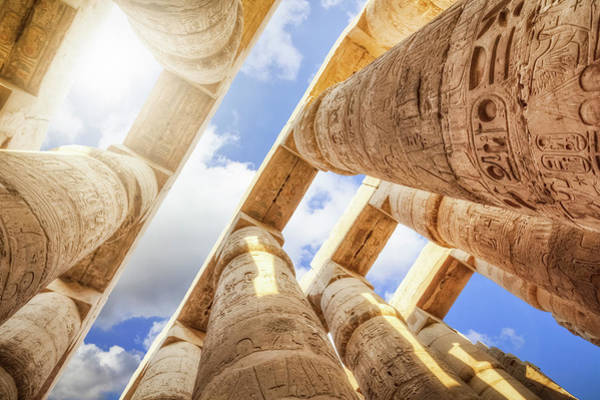 Ancient Photograph - Pillars Of The Great Hypostyle Hall by Cinoby
