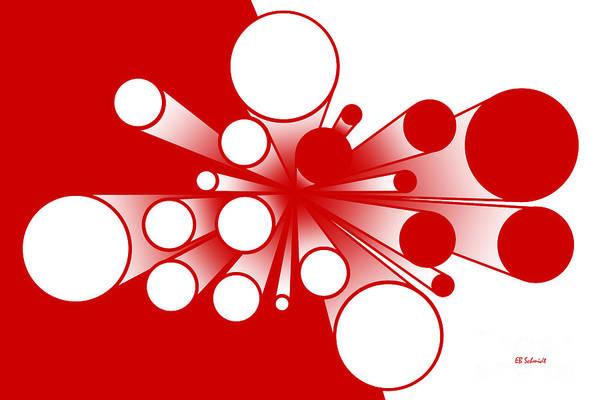 Digital Art - Pillars - Red And White Variation by E B Schmidt