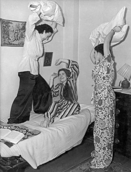 Nightime Photograph - Pillow Fight At Columbia by Underwood Archives