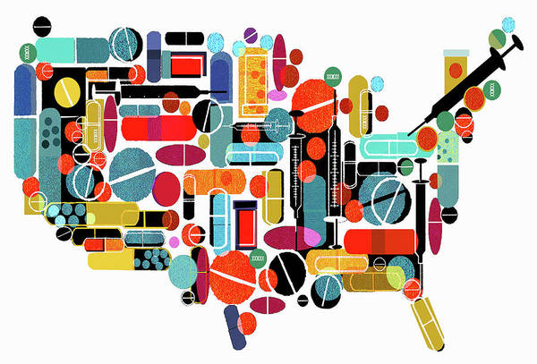 Wall Art - Photograph - Pills And Medicines Forming Map by Ikon Images