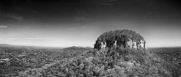 Photograph - Pilot Mountain In Fall Pano 2 Bw by Patrick M Lynch