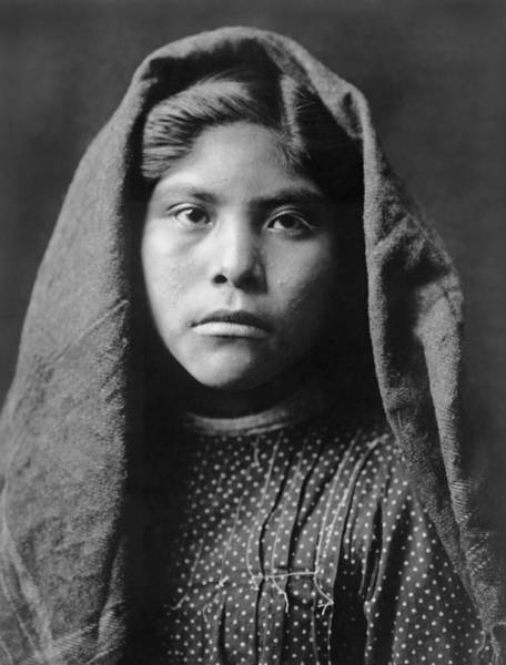 Indigenous Wall Art - Photograph - Pima Indian Girl Circa 1907 by Aged Pixel