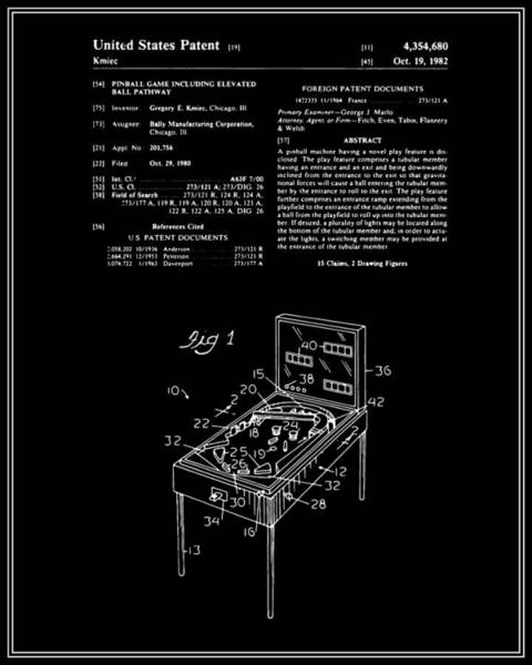 Pinball Digital Art - Pinball Machine Patent - Black by Finlay McNevin