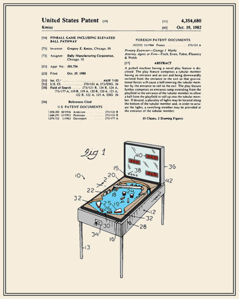 Pinball Digital Art - Pinball Machine Patent - Colour by Finlay McNevin