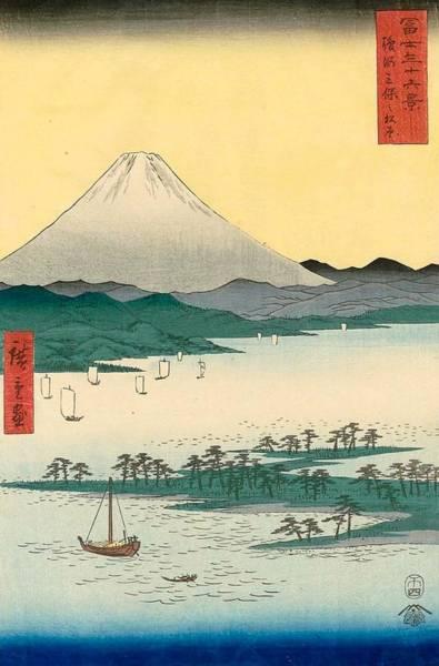 Thirty-six Views Of Mount Fuji Wall Art - Painting - Pine Beach At Miho In Suruga Province by Utagawa Hiroshige