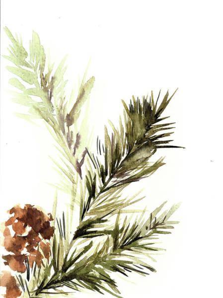 Pine Cones Painting - Pine Leaves by Sophia Rodionov