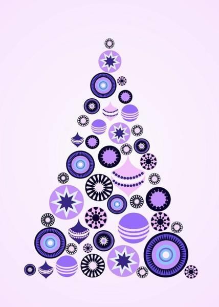 Digital Art - Pine Tree Ornaments - Purple by Anastasiya Malakhova
