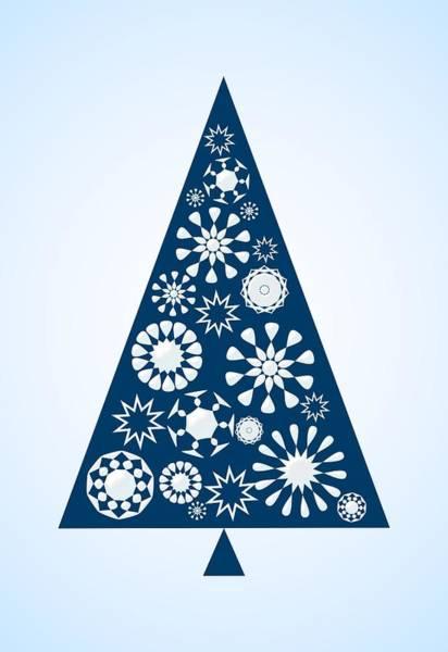 Digital Art - Pine Tree Snowflakes - Blue by Anastasiya Malakhova