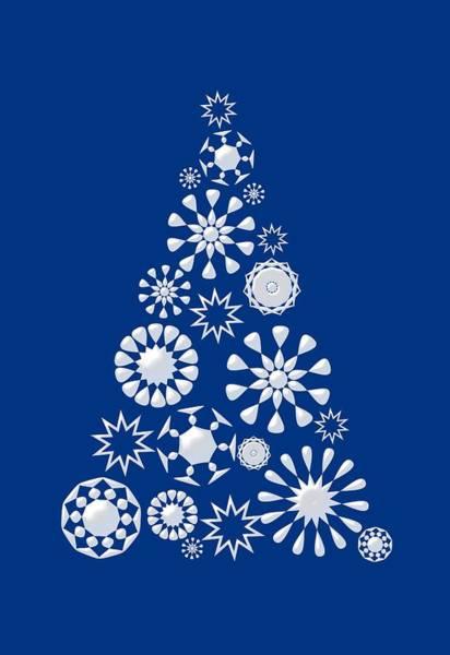 Christmas Decoration Wall Art - Digital Art - Pine Tree Snowflakes - Dark Blue by Anastasiya Malakhova