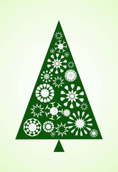 Digital Art - Pine Tree Snowflakes - Green by Anastasiya Malakhova