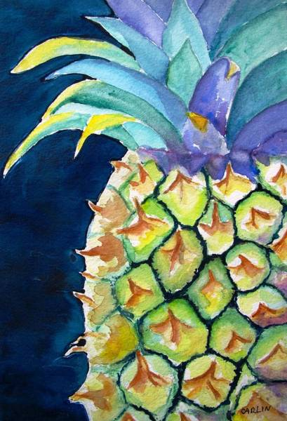 Close-up Painting - Pineapple by Carlin Blahnik CarlinArtWatercolor