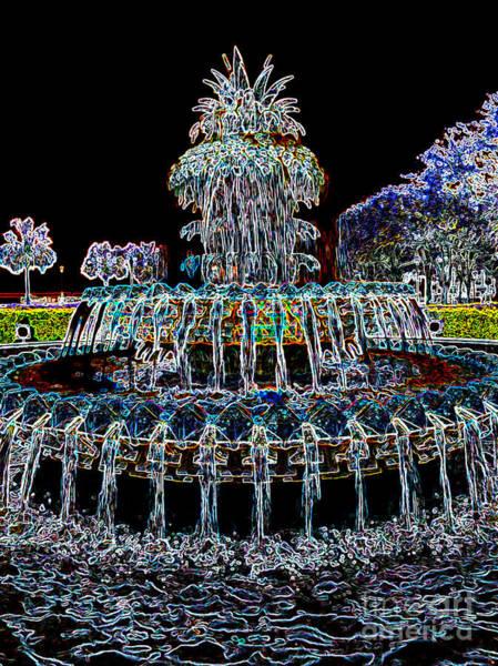 Photograph - Pineapple Fountain - Neon Night by Carol Groenen