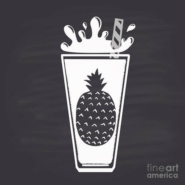 Wall Art - Digital Art - Pineapple Juice Drawn In Chalk In A by Anat om