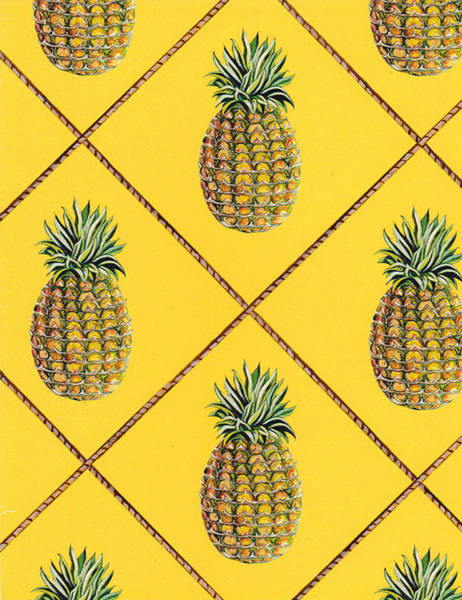 Tropical Painting - Pineapple Squared Textile Pattern by John Keaton
