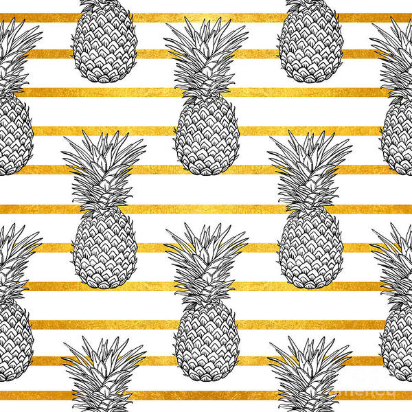 Pineapples Digital Art - Pineapple Tropical Vector Seamless by Vavavka
