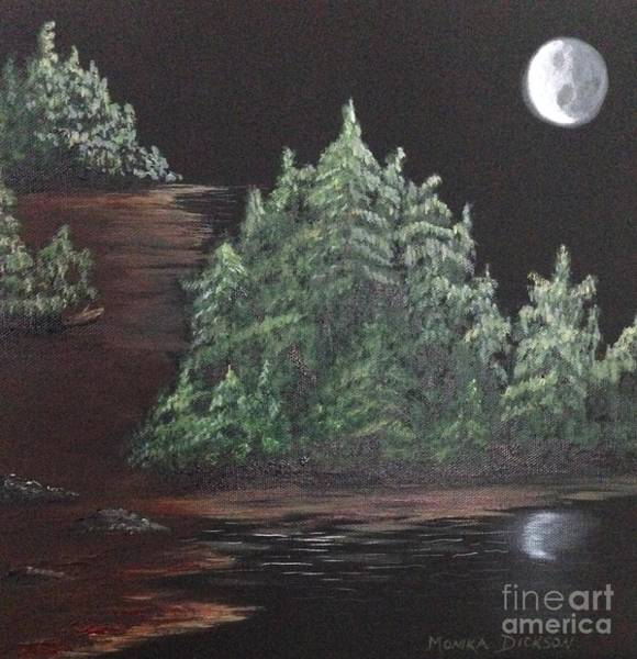 Painting - Pines With Moon by Monika Shepherdson