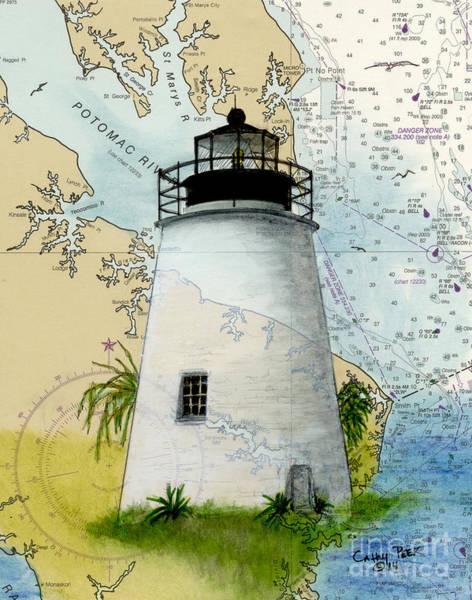 Wall Art - Painting - Piney Pt Lighthouse Md Cathy Peek Nautical Chart Art  by Cathy Peek