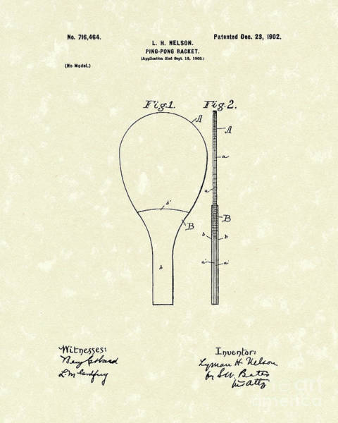 Drawing - Ping-pong Racket 1902 Patent Art by Prior Art Design