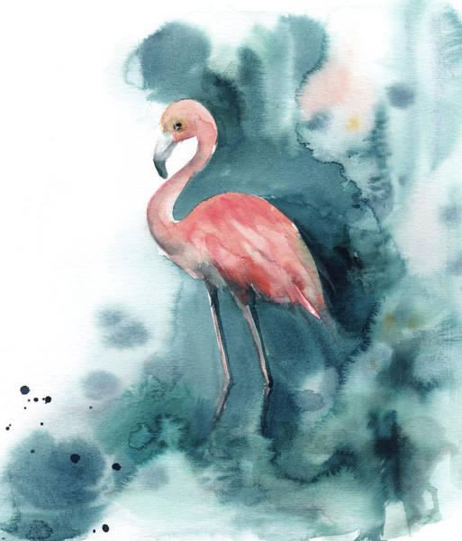 Flamingo Watercolor Painting - Pink And Blue Flamingo by Sophia Rodionov