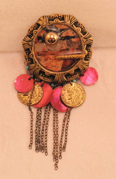 Jewelry - Pink And Blush Gypsy Pin by Outre Art  Natalie Eisen