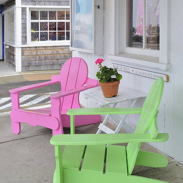 Neon Pink Photograph - Pink And Green Chairs Watch Hill Rhode Island by Marianne Campolongo