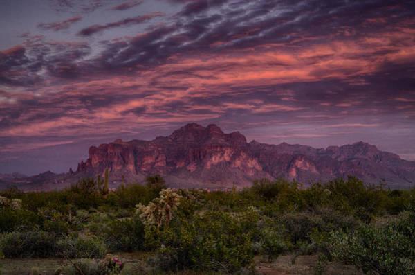 Superstition Mountains Photograph - Pink And Purple Desert Skies  by Saija  Lehtonen