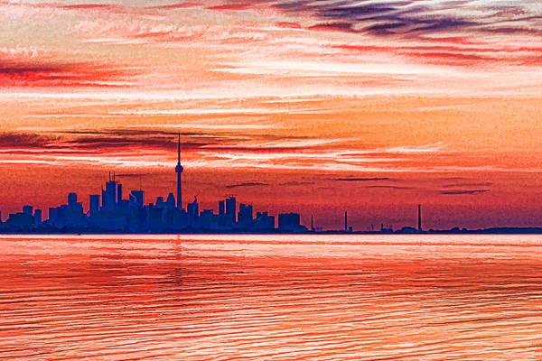 Digital Art - Pink And Purple Sunrise - Toronto Skyline Impressions by Georgia Mizuleva