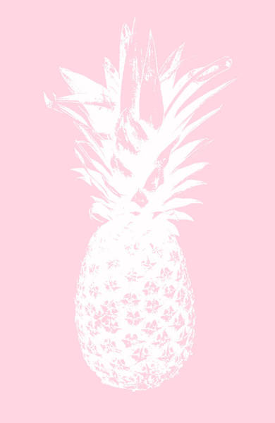 Hawaii Wall Art - Mixed Media - Pink And White Pineapple by Linda Woods