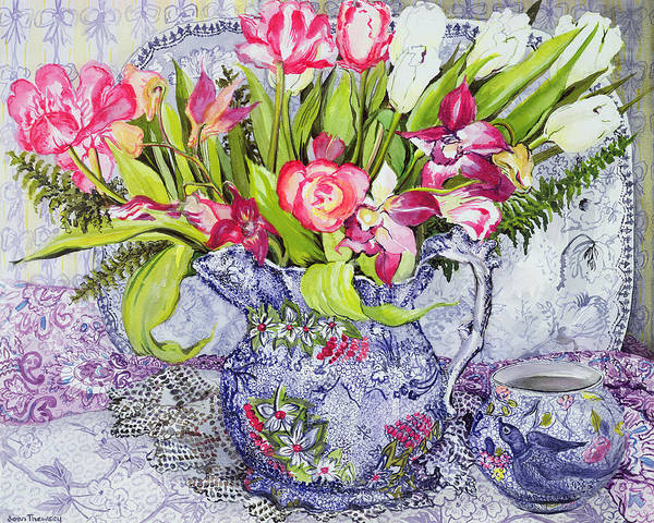 Doily Wall Art - Painting - Pink And White Tulips Orchids And Blue Antique China by Joan Thewsey