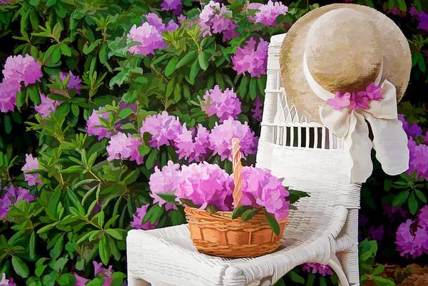 Wicker Basket Digital Art - Pink Azaleas by Maria Dryfhout