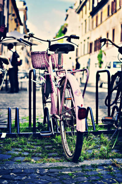 Pio Photograph - Pink Bicycle In Rome by Angela Bonilla
