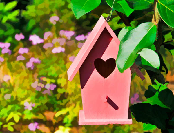 Photograph - Pink Heart Birdhouse by Ginger Wakem