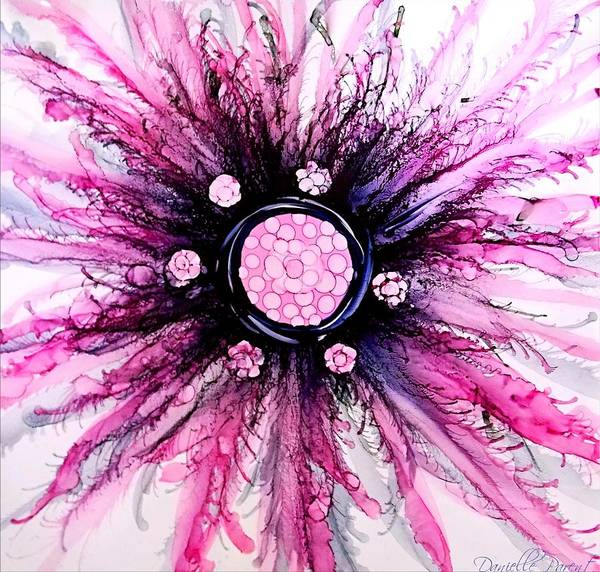 Painting - Pink Black Elegance Alcohol Inks Abstract by Danielle  Parent