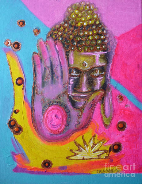 Painting - Pink Buddha by Donna Chaasadah