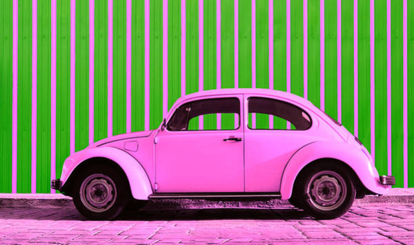 Green Car Photograph - Pink Bug by Laura Fasulo