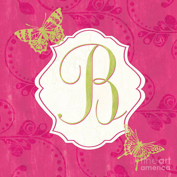Text Wall Art - Painting - Pink Butterfly Monogram by Debbie DeWitt