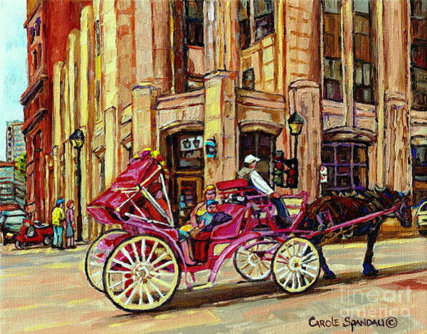 Painting - Carriage Ride Rue Notre Dame Paintings Of Old Montreal Caleche Ride Old Port Quebec Art C Spandau by Carole Spandau