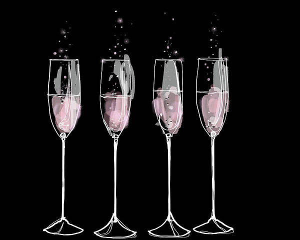 Anticipation Digital Art - Pink Champagne Flutes In A Row by Jan Richter