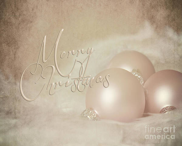 Pink Christmas Ornaments Art Print