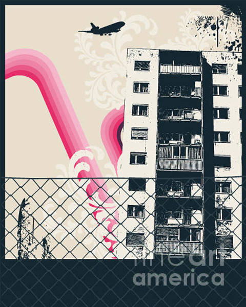 Grunge Music Wall Art - Digital Art - Pink City Poster by Sengerg