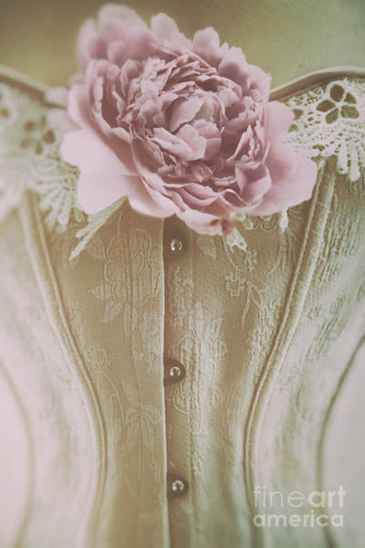 Photograph - Pink Corset With Large Flower by Sandra Cunningham