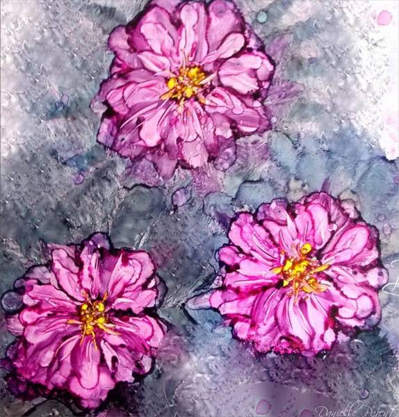 Painting - Pink Dahlia Blooms Alcohol Inks by Danielle  Parent