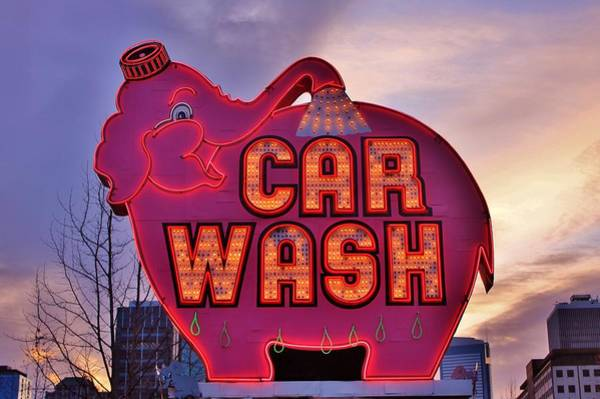 Car Wash Photograph - Pink Elephant Car Wash by Benjamin Yeager