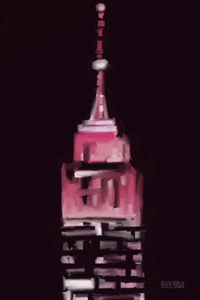 Urban Scene Painting - Pink Empire State Building New York At Night by Beverly Brown