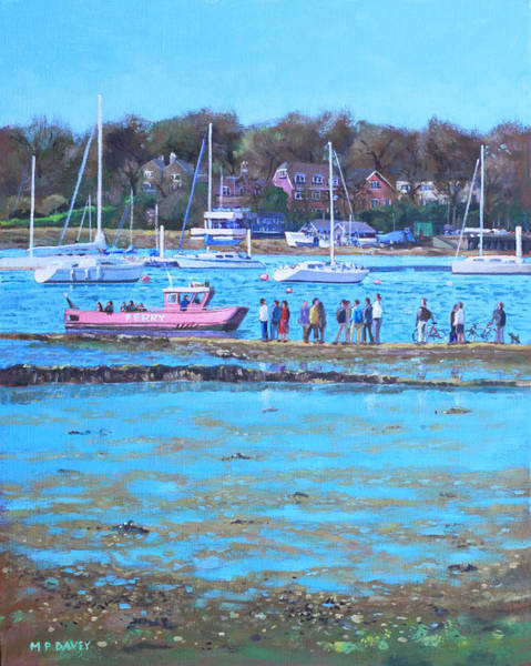 Wall Art - Painting - Pink Ferry On The River Hamble by Martin Davey