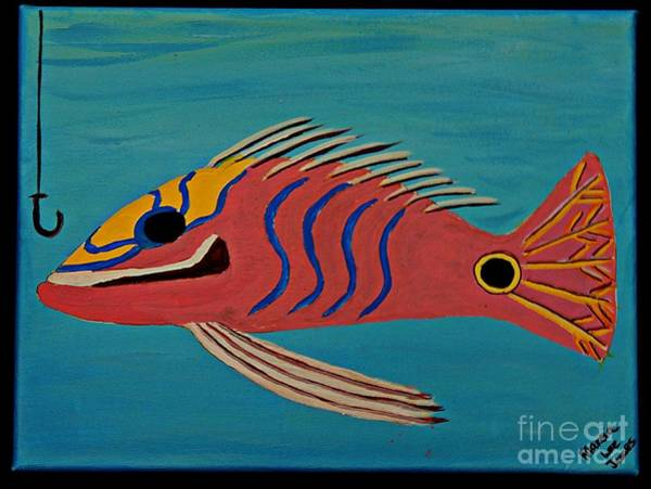 Protein Painting - Pink Fish by Marcia Lee Jones