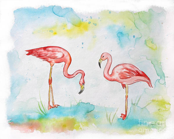 Flamingo Watercolor Painting - Pink Flamingo-a by Jean Plout