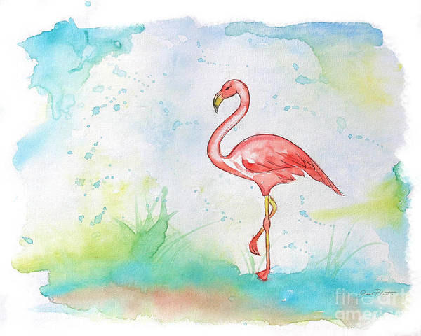 Flamingo Watercolor Painting - Pink Flamingo-b by Jean Plout